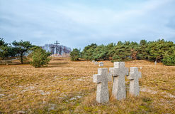 Stone crosses in the old cemetery Royalty Free Stock Images