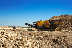 Stone crusher. At the construction site stock images