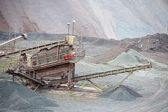 Stone crusher in porphyry surface mine. hdr image Stock Photo