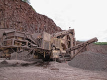 Stone crusher in porphyry surface mine. hdr image Stock Image