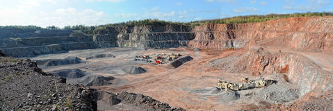 Stone crusher in a quarry. mining industry. panorama images Stock Images