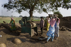 Stone crusher site. A group of Indian rural people are working in a stone crusher site Royalty Free Stock Image