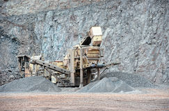 Stone crusher in surface mine Royalty Free Stock Images