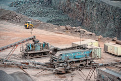 Stone crusher in surface mine. mining industry Royalty Free Stock Photo