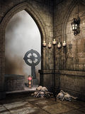 Stone crypt with bones Royalty Free Stock Image
