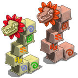 Stone cubes with heads of dragons Stock Photo