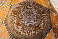 The stone cupola. CAIRO, EGYPT - OCTOBER 10, 2014: The colorful cupola of ablution fountain in the courtyard of Al-Nasir Muhammad complex decorated with Royalty Free Stock Images