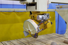 Stone cutting machine with circular saw Royalty Free Stock Photography