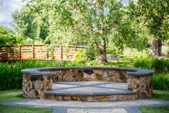 Stone Dais and Wood Bridge Royalty Free Stock Image