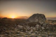 Stone de rey Arturo en la puesta del sol Imagen de archivo libre de regalías