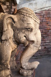 Stone decorated elephant head sculpture close-up. In Thailand Royalty Free Stock Photography