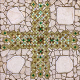 Stone decorative background with cross mosaic Stock Images