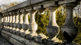 Stone decorative balustrade of the terrace royalty free stock images