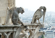 Stone demons from Notre Dame de Paris Royalty Free Stock Photos