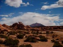 Stone desert in Bolivia rocks mountains sand Stock Photo