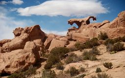 Stone desert in Bolivia rocks mountains sand Stock Images