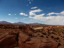 Stone desert in Bolivia rocks mountains sand Stock Image