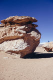 Stone Desert in Bolivia. Siloli Desert in Bolivia, stone tree growing out of the sand in the middle of the Andes Stock Photography