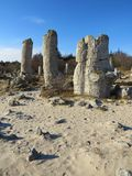 The Stone Desert or Stone Forest near Varna. Naturally formed column rocks. Fairytale like landscape. Bulgaria. The Stone Desert or Stone Forest near Varna royalty free stock photography