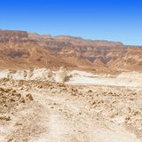 Stone desert in Israel. Rocky hills of the Negev Desert in Israel. Breathtaking landscape of the desert rock formations in the Southern Israel Desert Royalty Free Stock Images
