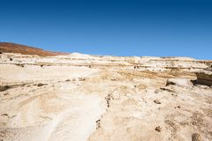 Stone desert in Israel. Rocky hills of the Negev Desert in Israel. Breathtaking landscape of the desert rock formations in the Southern Israel Desert Stock Photo