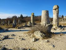 The Stone Desert or Stone Forest near Varna. Naturally formed column rocks. Fairytale like landscape. Bulgaria. The Stone Desert or Stone Forest near Varna stock photography