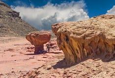 Stone desert in Timna park, Israel Royalty Free Stock Photo