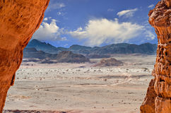Stone desert in Timna park, Israel Royalty Free Stock Images