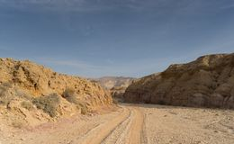 Travel in Israel negev desert landscape. Stone deserts hiking for health and mountain view Royalty Free Stock Photography