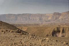 Travel in Israel negev desert landscape. Stone deserts hiking for health and mountain view Stock Photos