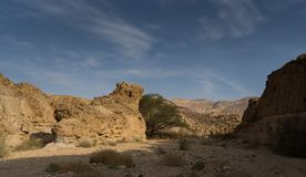 Travel in Israel negev desert landscape. Stone deserts hiking for health and mountain view Stock Photo