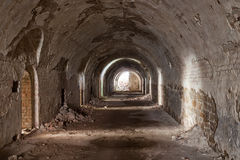 Stone destroyed  tunnel in  fort Tarakanovskiy. Stock Photos