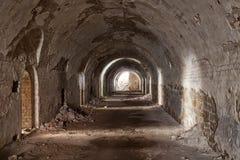 Stone destroyed  tunnel in  fort Tarakanovskiy. Stock Photos