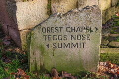 Stone direction sign at Teggs Nose Country Park on the edge of t. He Peak District, UK stock photo