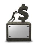 Stone dollar symbol. Man pushes stone dollar symbol on white background - 3d illustration Royalty Free Stock Photography