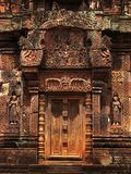 Stone door in Banteay Srei temple near Angkor Wat. Stock Photos