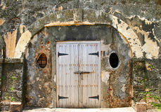 Stone Door Fort El Morro Puerto Rico. Wood doorway surrounded by stone at Fort El Morro in Old San Juan, Puerto Rico Royalty Free Stock Image
