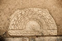 Stone Door Step With Carvings stock image