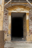 Stone Doorway. Old church stone doorway with old brown wood dor Royalty Free Stock Photos