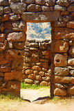 Stone doorway at Pisac ruins. Cusco, Peru Stock Photos