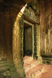 Doorway in sunlight, Ta Prohm Temple, Cambodia Royalty Free Stock Photos