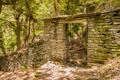 Stone doorway in the woods near Nonza on Cap Corse Stock Image