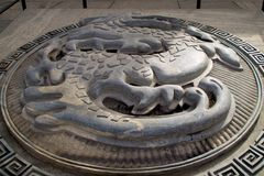 Stone Dragon Emblem Outside The Great Wall Of China Stock Photography