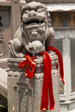 Stone Dragon Red Ribbons Jade Buddha Temple Royalty Free Stock Image