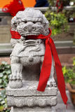 Stone Dragon Red Ribbons Jade Buddha Temple Royalty Free Stock Images