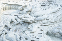 Stone dragon sculpture wall Royalty Free Stock Image