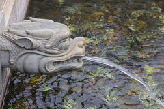 Stone dragon statue water spray Stock Photography
