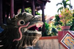 Stone dragon statues in Long Son Pagoda Nha Trang Vietnam. Long Son Pagoda - one of the most famous attractions of the entire city and the main temple of the royalty free stock photography