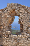 Stone dry wall. Photo of stone dry wall was taken on stronghol Monolithos on island Rhodes, Greece Stock Photos