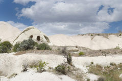 Stone dwellings in Cappadocia Royalty Free Stock Photography